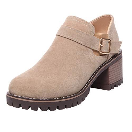 Botines Mujer Otoño Invierno Clásicas Botas Calientes de Cremallera Lateral Zapatos de...