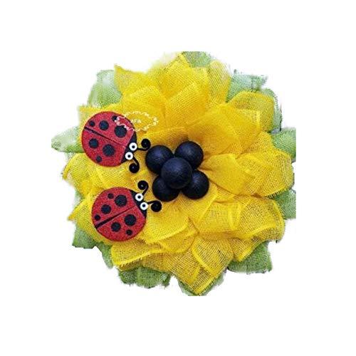 Handmade World Bee Day Bee Sunflower Wreath, 13.5 Inch Artificial Garland Hanging Pendants, Happy Honey Bee Decor for Front Door, Bedroom, Wall, Window Party Decoration 4#