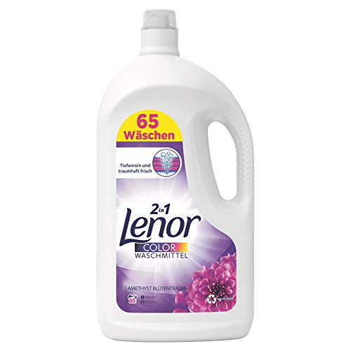 Lenor Waschmittel Flüssig, Flüssigwaschmittel, Color Waschmittel, 130 Waschladungen (2 x 3.575 L) Farbschutz, Amethyst Blütentraum