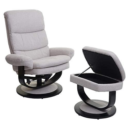 Mendler Relaxsessel HWC-C16, Fernsehsessel TV-Sessel Hocker mit Staufach ~ Stoff/Textil Creme-beige