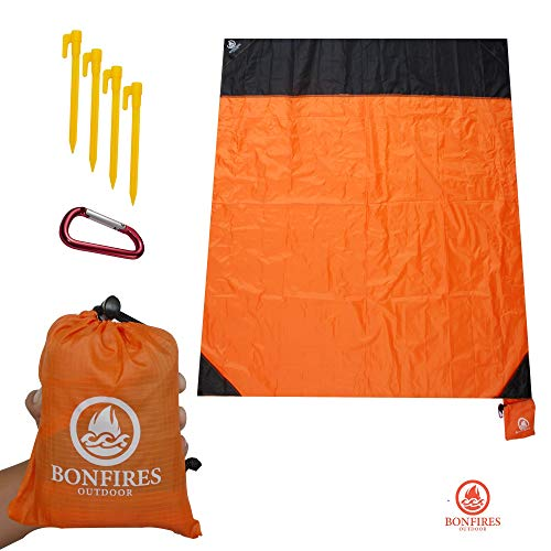 "BONFIRES Outdoor Beach Blanket, Camping, Picnic, 57"" x 65"", Pocket Bag, Strong, Carabiner, Stakes, Lightweight Camping Tarp, Waterproof Picnic Tarp, Festival, Travel, Hiking, Yoga Mat, Best Sand Proof"