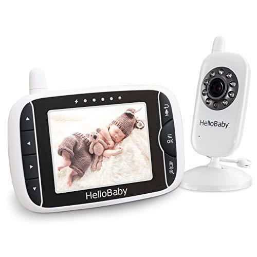 HelloBaby Wireless vídeo Vigilabebés con cámara digital, visión nocturna, control de temperatura & 2 Way Talk Back Sistema, color blanco Talla:HB32