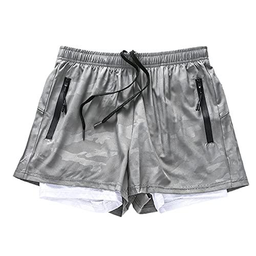 Pantaloncini Sportivi Sottili da Uomo ad Asciugatura Rapida Moda Fitness Falso in Due Pezzi per Il Tempo Libero Pantaloncini di Base Versatili di Tendenza all'aperto 3XL