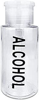 PANA 7 Oz Professional Alcohol-Labeled Push Down Liquid Pumping Bottle Dispenser (Clear)
