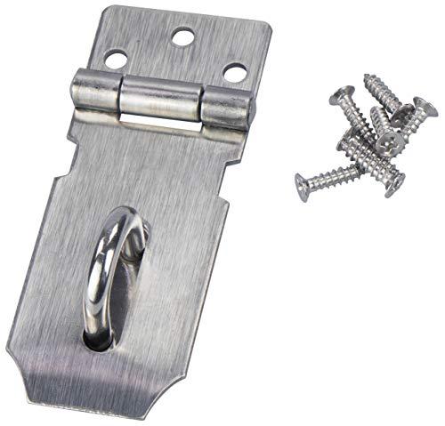 LAUBLUST Kistenverschluss & Türriegel - Überfalle mit Öse für Vorhängeschloss - ca. 100x40x28mm Edelstahl Silbern