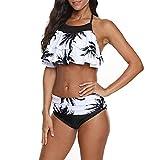 Bikinis brasileños Ropa de Playa Mujer Traje de Baño Volante Halter con Espalda Bikinis Mujer Push up calzedonia Dividido de bañadores Mujer Natación Traje de baño de Dos Piezas Prenda para la Playa