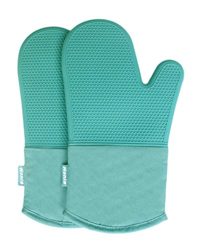 Honla Silicone Oven Mitts,Heat Resistant to 500 F,1 Pair of Non Slip Kitchen Oven Gloves for Cooking,Baking,Grilling,Barbecue Potholders,Teal