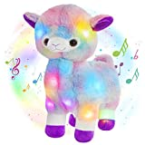 Glow Guards 12'' Musical Light up Rainbow Alpaca Soft Plush Toy Stuffed LED Animals Night Lights Doll Holiday Birthday Gifts for Toddler Kids