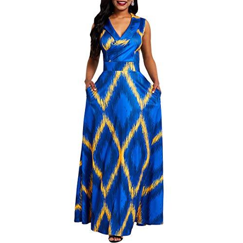 VERWIN V-Neck Print Sleeveless Floor-Length High Waist Pullover Women's Maxi Dress