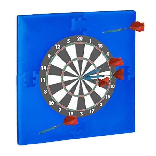 """Relaxdays Dartscheibe Schutzring \""""R6\"""", Wandschutz für 45 cm Dartboard, EVA, Dart Auffangring HBT: 71 x 71 x 3 cm, blau"""