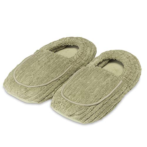 Intelex Warmies Microwavable French Lavender Scented Spa Therapy Slippers, Spa Green