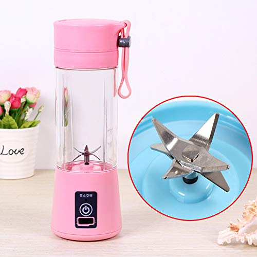 Alician Home Kitchen Bathroom Supplies Portable 6 Blades USB Charging Eletric Fruit Juicer Blender Pink 380ML