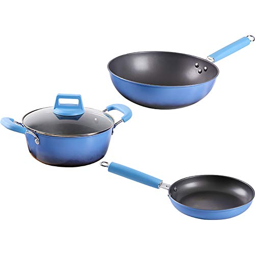 H&RB Kochware Set Teflon-Beschichtete Nonstick-Töpfe Und Pfannen Gesetzt, Mit Griff, Geschirrspüler-Sicher,Blue,4Piece