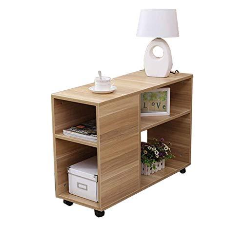 JCNFA Planken Boekenplank Move Pulley Bijzettafel Kleine Koffie Tafel Praktisch En Veelzijdig, Verwijderbare Bijzettafel, Bank Zijkast 23.62 * 9.44 * 22.83in Wood Color