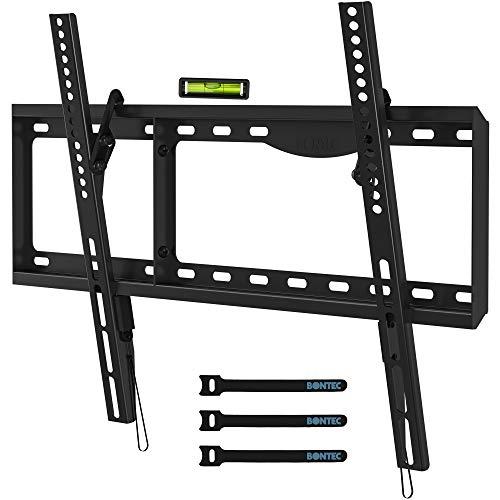 BONTEC TV Wandhalterung für 37-86 Zoll LED LCD OLED Plasma Flach & Curved Fernseher, Neigbare TV Halterung für Fernseher bis zu 75 kg, max. VESA 600x400mm, Wasserwaage und Kabelbinder inklusive