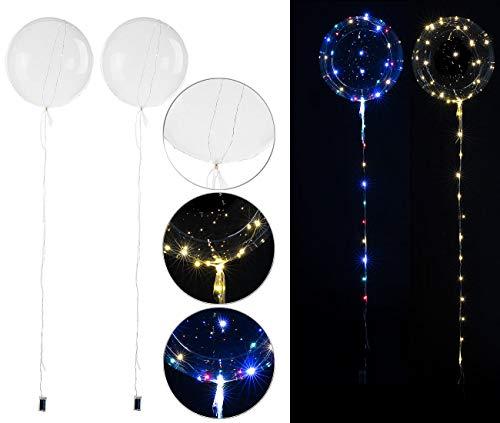 PEARL Ballons: 2er-Set Luftballons mit Lichterkette, 40 weiße & 40 Farb-LEDs, Ø 25 cm (Luftballon Party)