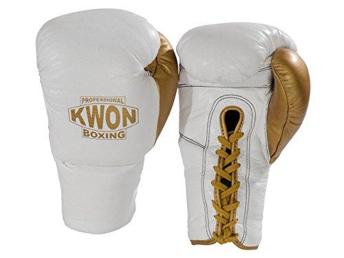 Kwon Boxhandschuhe Leder mit Schnürung weiß-schwarz-rot/gold