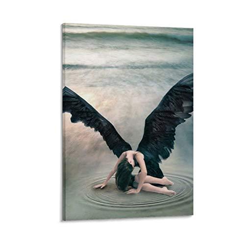 """Poster su tela con scritta """"Fallen Angel Girl"""" con le ali nere, angelo magico caduto, ispirato alla strega di angelo nero, stampa artistica da parete, 40 x 60 cm"""