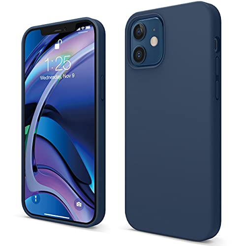 "Elago Silicone Liquido Custodia Cover Compatibile con iPhone 12 Case e Compatibile con iPhone 12 PRO Case (6.1""), Silicone Liquido Premium, Protezione Full Body : Case Antiurto 3 Strati (Blu Scuro)"