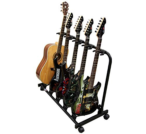 5 Guitar Rolling Cart Stand Pro Audio Stage, Studio or Display Rubber Divider Electric or Acoustic Guitar Holder