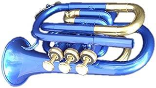 Queen Brass Pocket Trumpet Brass Made B Flat W/Case+Mp Blue