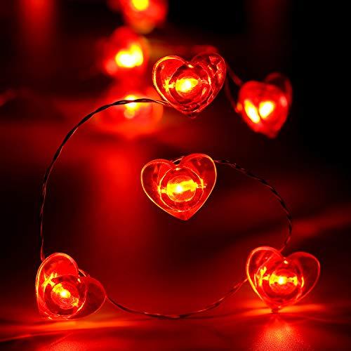 Guirnalda de Luces de Día de San Valentín 10 ft/ 3,1 m 40 LEDs Luces de Hada en Forma de Corazón Rojo para Decoración de Boda Aniversario Compromiso Cita Fiesta