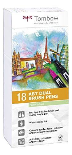 Tombow ABT-18P-5 Fasermaler Dual Brush Pen mit zwei Spitzen 18er Set, pastellfarben