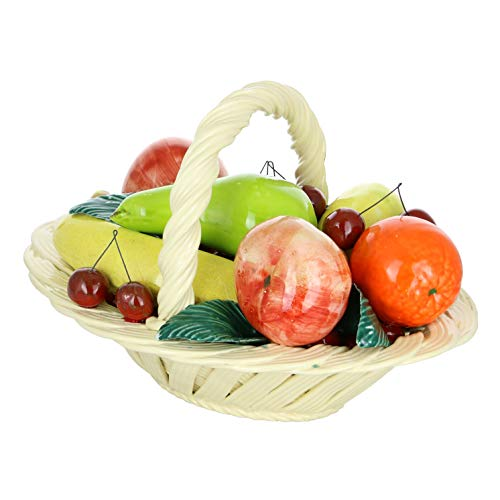 "ThreeStar Capodimonte Authentic Italian Multi-Color Fruit Basket w/Handle 13"" x 9"" Made in Italy Large Centerpiece"