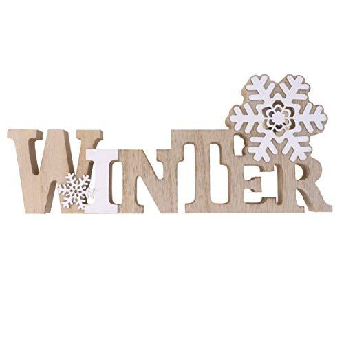 VOSAREA Weihnachten Schriftzug Holz LED Dekobuchstaben Winter Beleuchtet Schneeflocke Nachtlicht Dekofigur Deko Aufsteller Objekt Schlafzimmer Kinderzimmer Party Tischdeko Kinder Geschenk