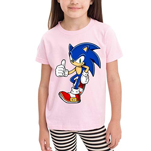 Radyk56rtyh Sonic The Hedgehog The Hedgehog Toddler's T-Shirt 100% Cotton Short Sleeve Cool Style Tee for Children Pink 5/6T