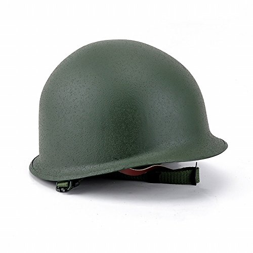 XIU Casco de Ventilador del Ejército M1 Casco Clásico de Doble Capa de la Segunda Guerra Mundial Casco de Montar a Caballo de la Personalidad Casco Táctico,Ejercito Verde,Un tamaño