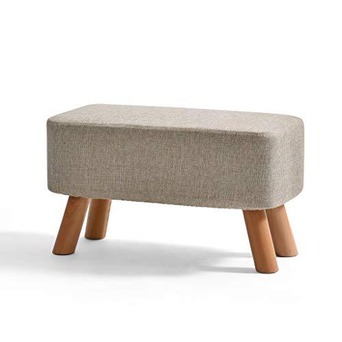 PLL kleine kruk massief hout moderne eenvoud creatieve kleine stoel bank bank Change schoenenbank kleine bank lichtgrijs