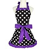 XMBFZ Women Aprons Cute Retro Cotton Cooking Polka Dot Extra Pocket Vintage Apron Dress Gift for Women Girls,Purple