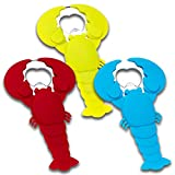 Beer Bottle Opener, 3-Pack Silicone Stainless Steel Flat Bottle Opener, Lobster, Red, Blue, Lime Green