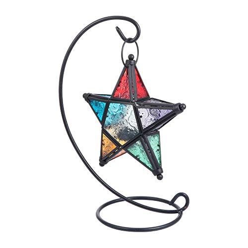GARNECK Portavelas marroquí de cristal con forma de estrella, portavelas retro de...