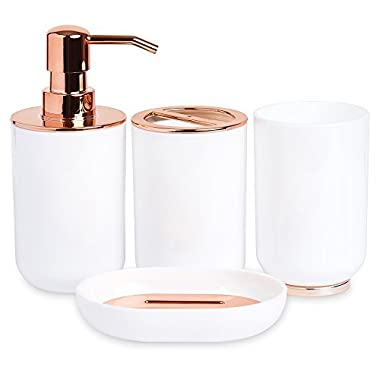 Blue Donuts Bathroom Accessories Set, Toothbrush Holder, Soap Dispenser, Rose Gold and White, 4 Piece