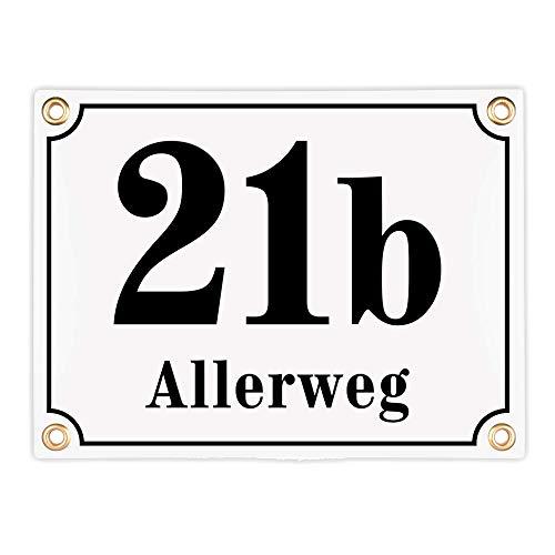 Sosenco Hausnummerschild Hausnummer mit Straßenname - 20x15 cm - Keramik Emaille - Wetterfest - Personalisiert - Weiß