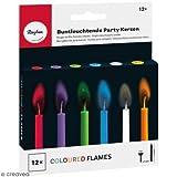 Rayher 31587000 Buntleuchtende Party Kerzen, Länge 5,5 cm, 5 mm ø, Karton 12 farbige Kerzen inklusiv Halter, Partykerzen mit bunter Flamme