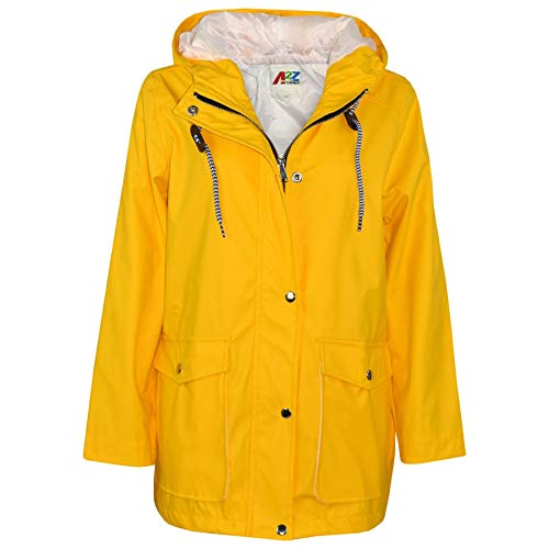 A2Z 4 Kids® Kinder Mädchen Jungen PU Regen Mantel Jacken Windbreaker - PU Raincoat 497 Yellow 13
