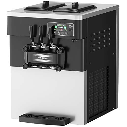 COSTWAY Commercial Ice Cream Machine, 5.3 to 7.4 Gallons Per Hour Soft & Hard Serve, Automatic Ice Cream Maker with LCD Display Screen, Auto Clean, Shut-Off Timer, 3 Flavors, Suitable for Shops, Restaurants, Bar, 2200W