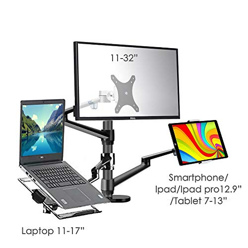 Triple arms Adjustable Laptop and Monitor Tablet Stand Riser for Desk,Office, Space Saving,it Hold 13 to 17.3 inch Laptop and Monitor(11 to 32 inch) and Tablet(3-13 inch) Such as iPAD/IPAD PRO 12.9