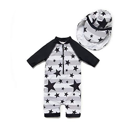 BONVERANO Baby Junge EIN stück 3/4 der ärmellänge UV-Schutz 50+ Badeanzug MIT Einem Reißverschluss(Schwarz-Die Sterne,3-6M)