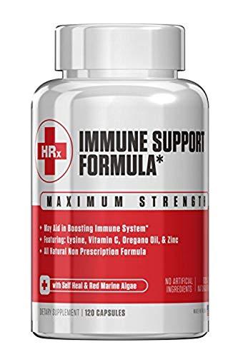 Immune Support Formula (H Rescue Discreet) Immune Support Supplement L Lysine, Zinc, Vitamin C, Oregano Oil 120 Capsules