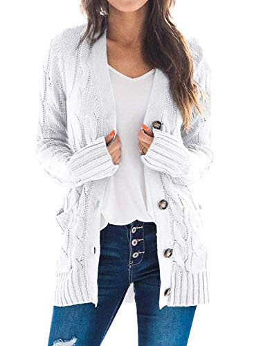 Dokotoo Womens Fashion Ladies Cozy Casual Cardigan Sweaters Button Down Open Front Long Sleeve Cable Knit Sweater Coats for Women Outwear with Pockets Grey Small
