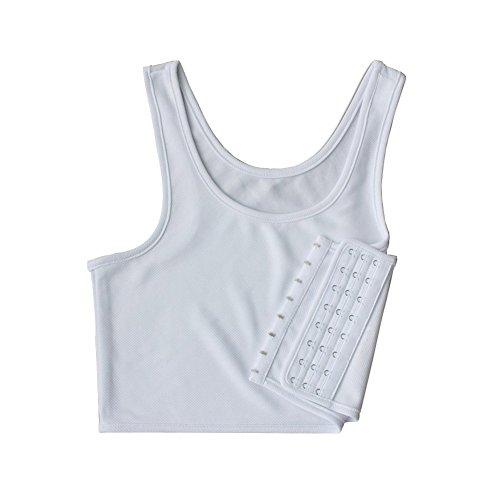 Women Hook Vest Top Lesbian Chest Tomboy Slim Fit Straps Tank Sports Bra Chest Binders (X-Large, White)