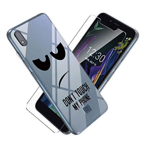 LJSM Hülle für LG K20 2019 + Panzerglas Bildschirmschutzfolie Schutzfolie - Transparent Weich Silikon Schutzhülle Crystal Flexibel TPU Tasche Hülle für LG K20 2019 (5.45
