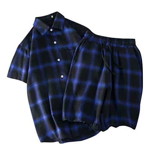 Yowablo Hemd Shorts Hosen Zwei Peice Anzug Herren Sommer Casual Lattice Kurzarm (XXL,Blau)