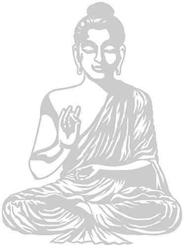 Samunshi® Wandtattoo Buddha Wandsticker in 9 Größen und 25 Farben (67x90cm silbermetalleffekt)