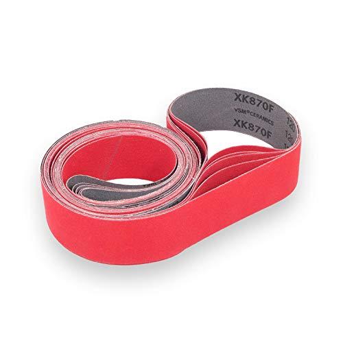 VSM XK870F - Bandas de lija (grano de cerámica, flexible, 50 x 2000 mm, 5 unidades, grano P120)