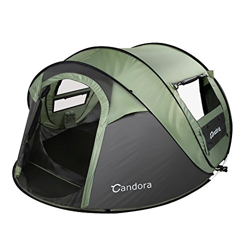 Candora 4-Person Instant Pop-Up Tent Pop Up Tent - Automatische installatie in 1 seconden -Gemakkelijk te installeren en opvouwbaar - Grote familie Outdoor Camping Tents Shelters